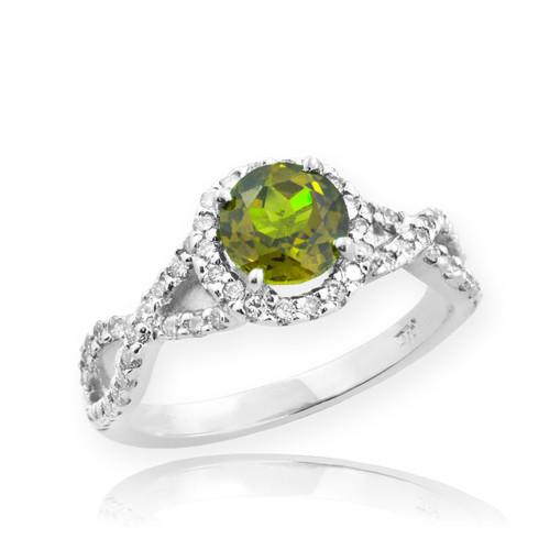 White Gold Peridot Birthstone Infinity Ring with Diamonds