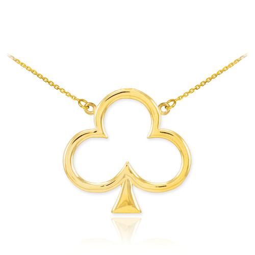 14k Gold Clover Shamrock Necklace
