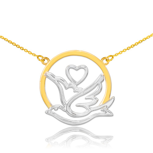 14k Two-Tone Gold Dove with Heart Necklace