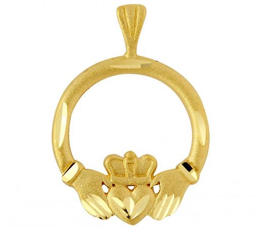 Gold Claddagh Pendant in Traditional Irish Design