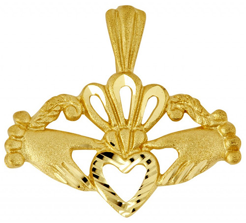 Claddagh Gold Pendant with Diamond Cut Heart