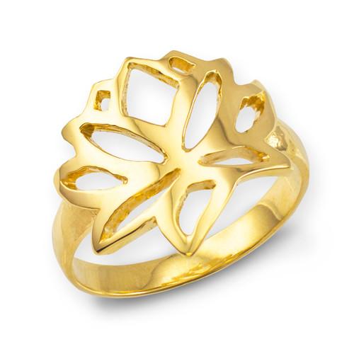Gold Lotus Flower Ring