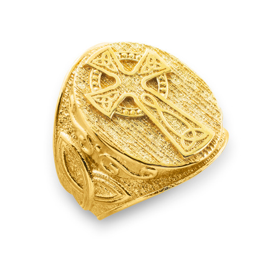 Men's Gold Celtic Cross Trinity Knot Ring
