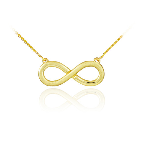 14K Half Satin Solid Gold Infinity Necklace
