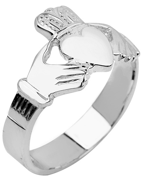 Solid White Gold Mens Claddagh Ring from CladdaghGold.com - image