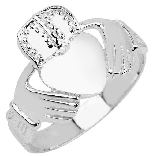 White Gold Claddagh Ring for Men