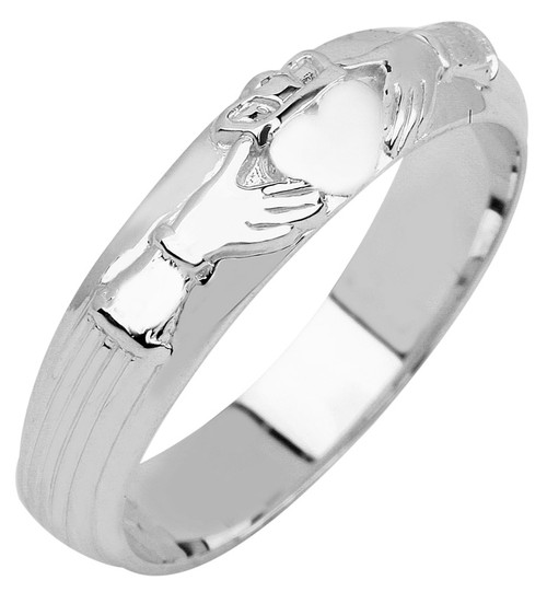 White Gold Claddagh Wedding Band Mens Ring