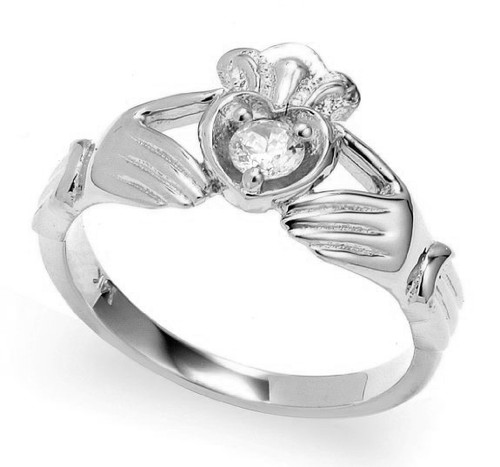 White Gold Diamond Claddagh Crown and Heart Engagement Ring
