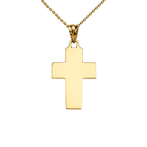 Elegant High Polish Cross Yellow Gold Pendant Necklace