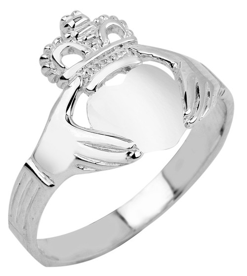 White Gold Claddagh Ring Ladies Polished Classic