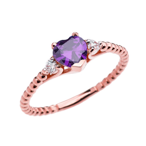 Amethyst Solitaire Heart And White Topaz Rose Gold Beaded Band Promise Ring