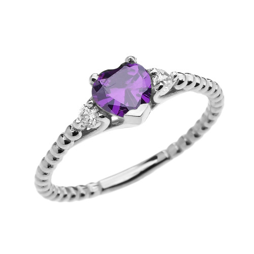 Amethyst Solitaire Heart And White Topaz White Gold Beaded Band Promise Ring