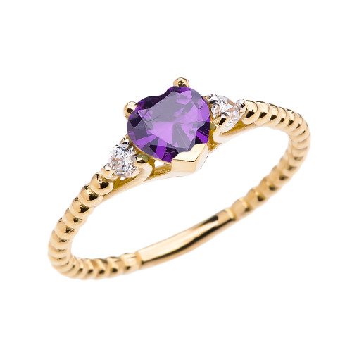 Amethyst Solitaire Heart And White Topaz Yellow Gold Beaded Band Promise Ring