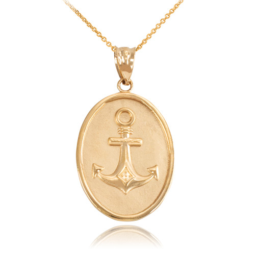 Yellow Gold Anchor Pendant Necklace