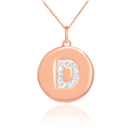 "14k Rose Gold Letter ""D"" Initial Diamond Disc Pendant"