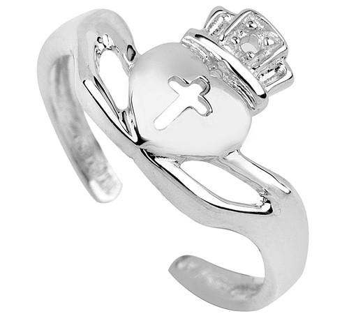 White Gold Claddagh Toe Ring With Cross
