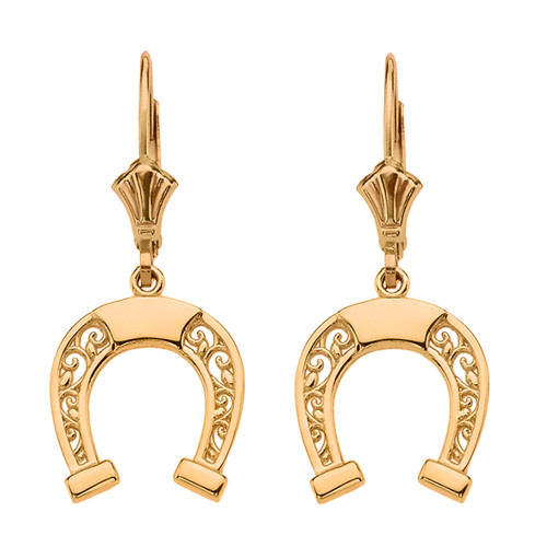 14K  Yellow Gold Filigree Horseshoe Earrings