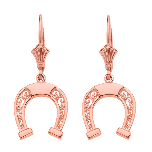 14K  Rose Gold Filigree Horseshoe Earrings