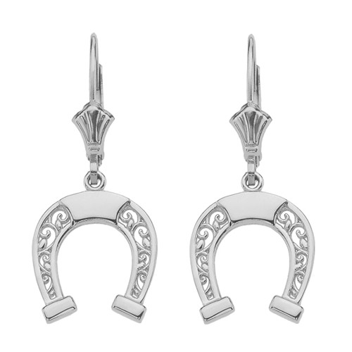 14K  White Gold Filigree Horseshoe Earrings