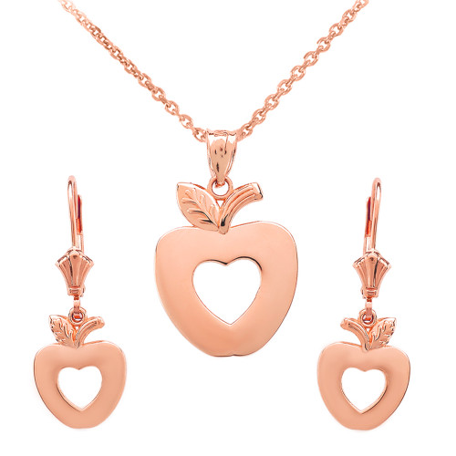 14K Rose Gold Apple Heart Necklace Earring Set