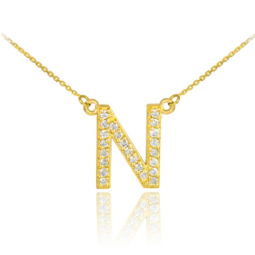 "14k Gold Letter ""N"" Diamond Initial Necklace"