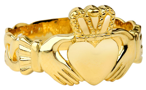 Gold Claddagh Mens Ring with Trinity Band