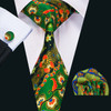 Black with green red and gold geometric pattern necktie set.