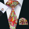 Green with pink, red and orange geometric pattern necktie set.
