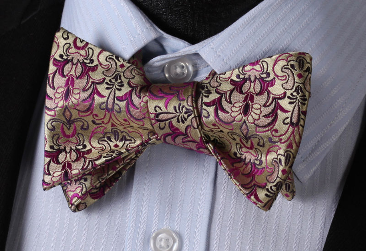 d70ad0816d3f Gold with purple and black floral pattern bow tie set. - Got Knot