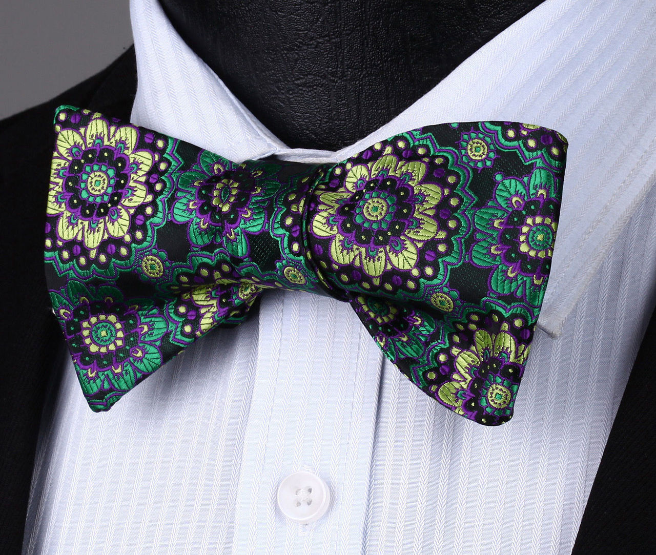 5801a18d3f9d Black with green, purple and gold floral pattern bow tie set.