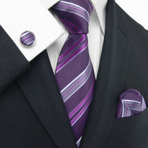 Got Knot Purple/ Silver stripe set