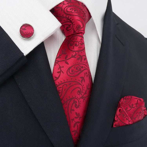 Red with red paisley pattern necktie set.
