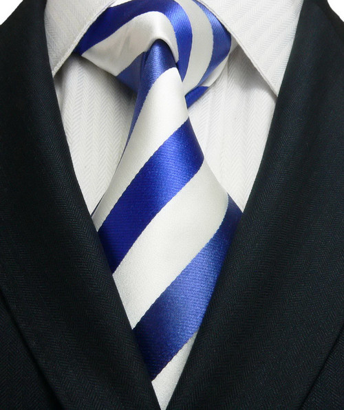 White with blue striped pattern extra long neck tie.