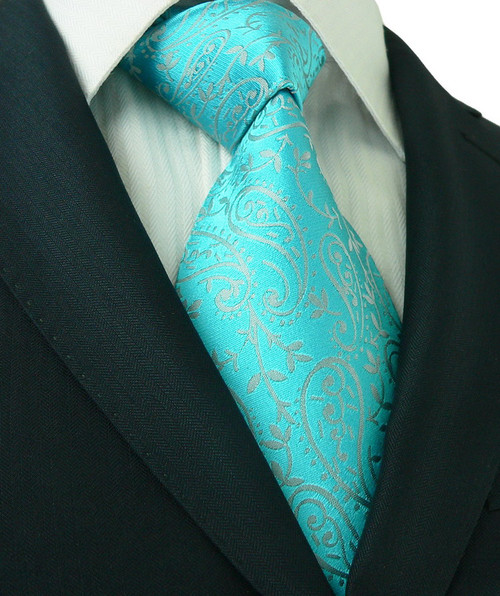 Turquoise green with silver floral pattern extra long necktie.