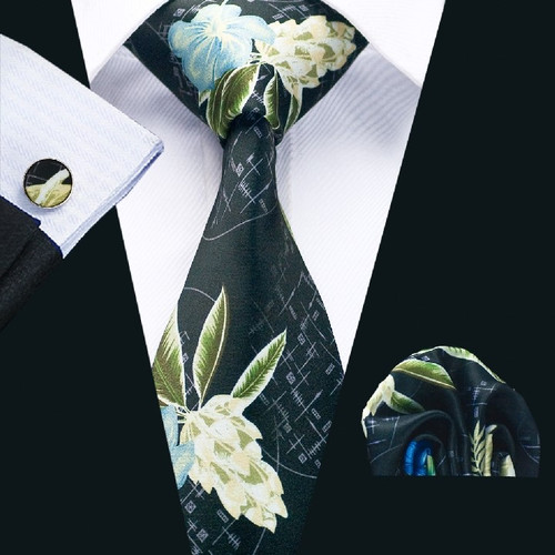 Black with white tropical floral pattern necktie set.