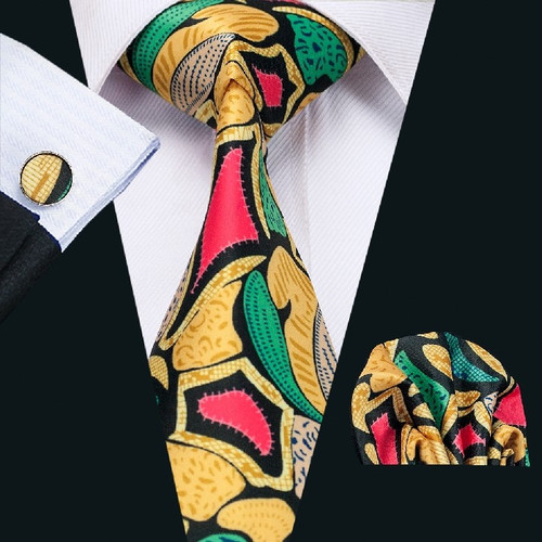 Black with gold, fuchsia and green geometric pattern necktie set.