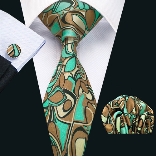 Brown with tan and turquoise geometric pattern necktie set.