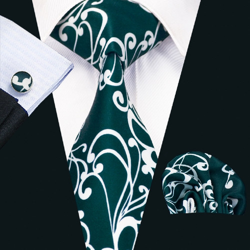 Forest green with white pattern necktie set.