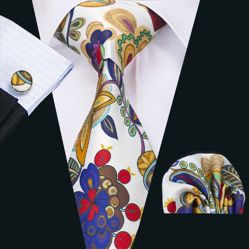 White with gold,blue,brown and red floral pattern necktie set.
