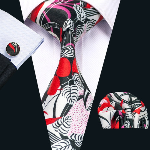 Black with white, red and pink floral pattern necktie set.