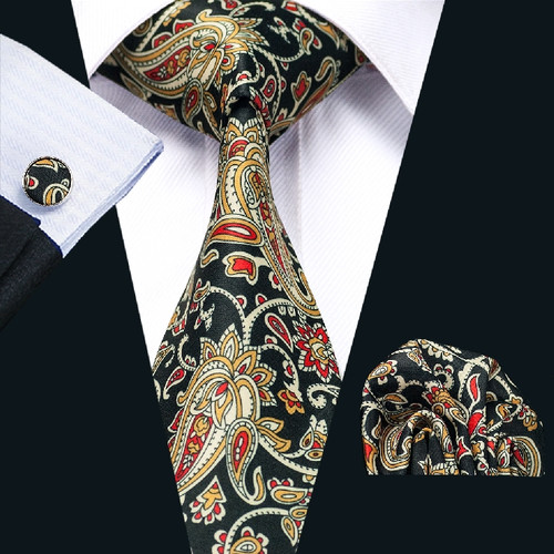 Black with gold and red paisley pattern necktie set.