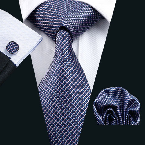 Navy blue with light blue and pink squared pattern necktie set.