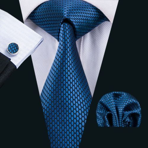 Navy blue with electric blue oval pattern necktie set.