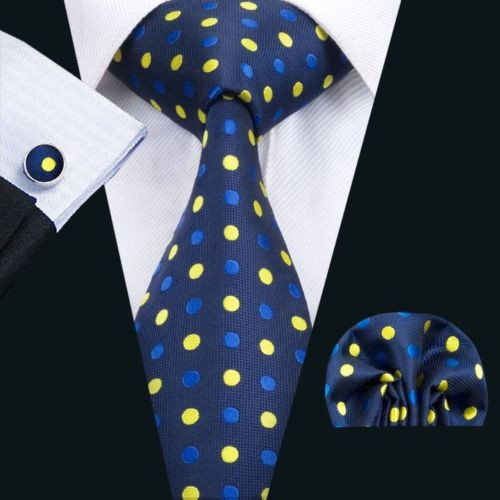 Navy with blue and yellow polka dot pattern necktie set.