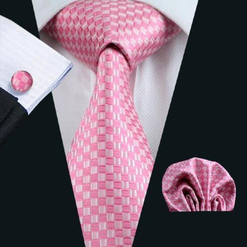 Pink with pink checkered pattern necktie set.