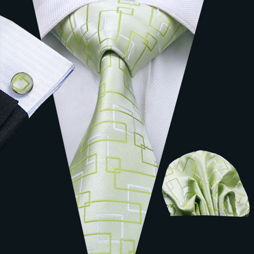 Pale green with green and silver geometric pattern necktie set.