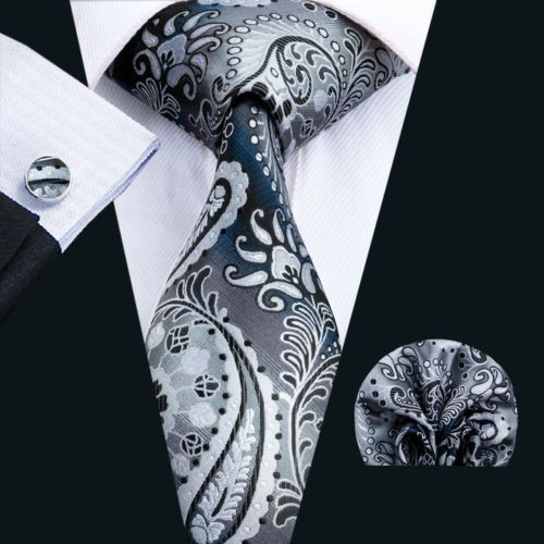 Gray with silver and black paisley and floral pattern necktie set.