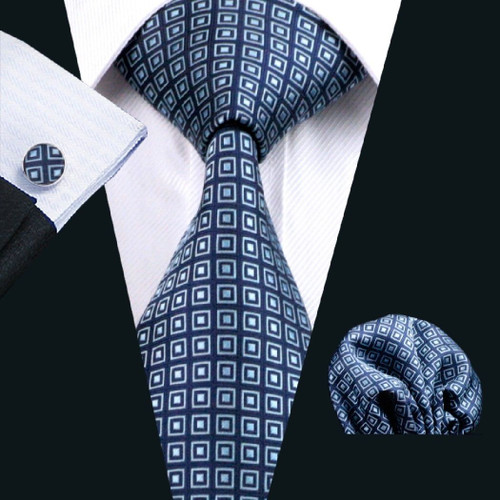 Blue with blue and white squared pattern necktie set.
