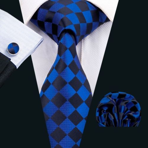 Royal blue with black check pattern necktie set.