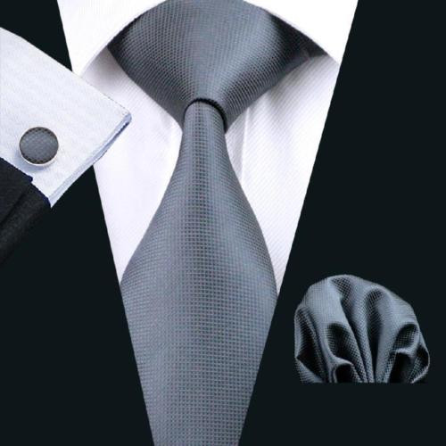 Deep gray solid necktie set.